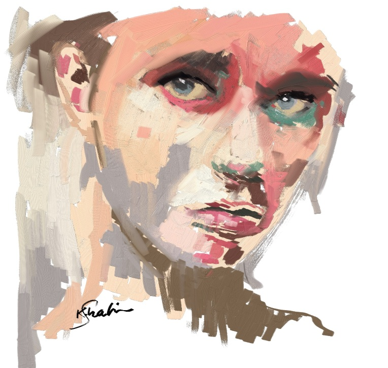 a girl portrait using Corel Painter 2018 Thick Paint brushes.