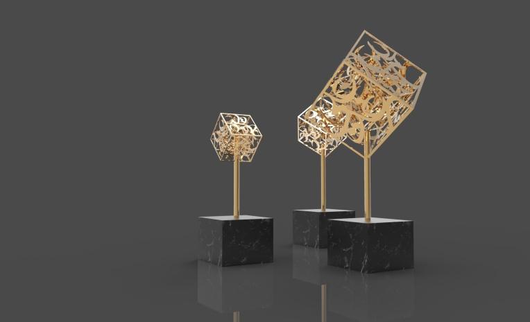 Cubes of Love - sculpture work by Khalid Shahin