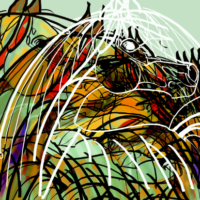 Arabian horses abstract painting