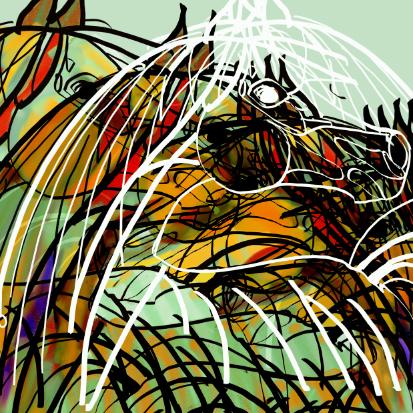 Arabian horses abstract painting
