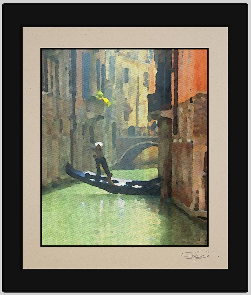 Venice Gondola Rides - watercolors by artist Khalid Shahin