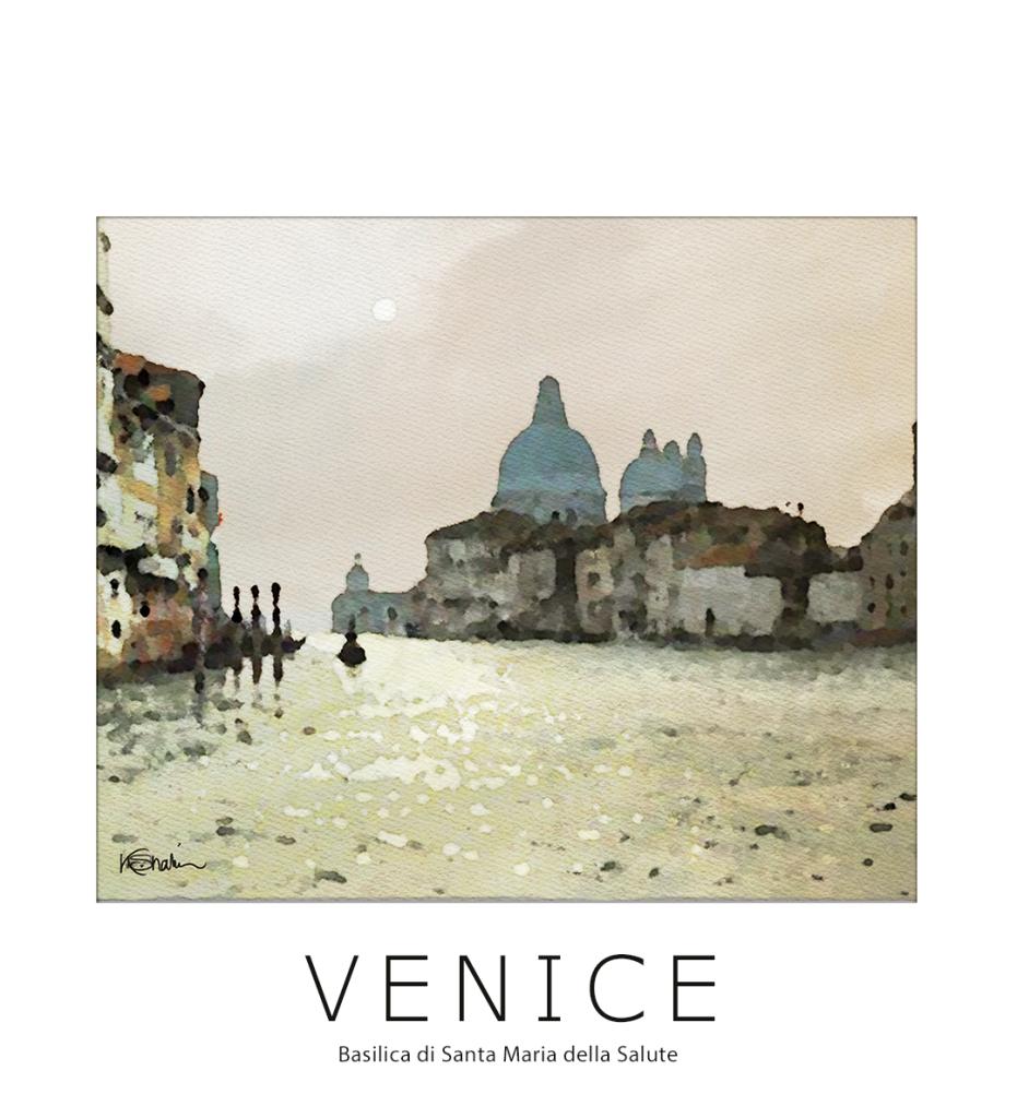 Venice watercolors painting by Khalid Shahin. Basilica di Santa Maria della Salute